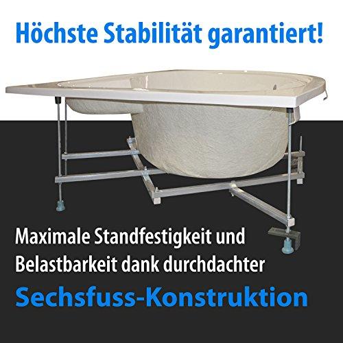 AQUADE stabile Badewanne mit Untergestell 140 x 140 cm Eckbadewanne 140x140 Modell Leipzig mit Anti-Rutsch-Boden + Wannenrandarmatur + Nackenkissen