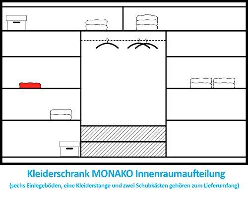 Schiebetürenschrank - Kleiderschrank - Schwebetürenschrank MONTE CARLO in Weiß, mit Spiegel, Breite: 250 cm, Höhe: 215 cm, Tiefe: 61 cm