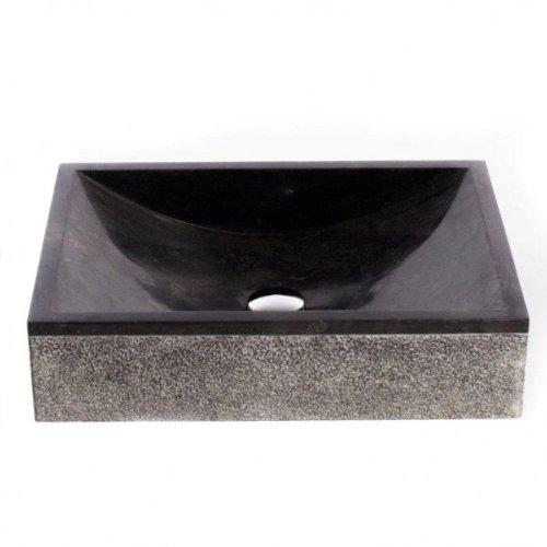 WOHNFREUDEN Marmor Waschbecken Perahu ✓ 50 cm recht-eckig poliert ✓ ideal als Steinwaschbecken oder Naturstein Aufsatzwaschbecken für Bad Gäste WC ✓ inkl. techn. Zeichnung ✓