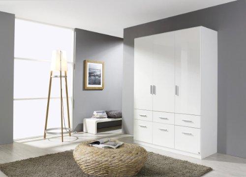 Rauch Kleiderschrank Weiß Hochglanz 3-türig mit 6 Schubladen, Korpus Weiß Alpin, BxHxT 136x197x54 cm