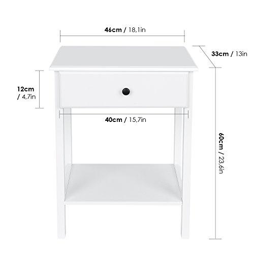 HOMFA Nachttisch Nachtschrank Nachtkommode Nachtschränkchen Ablagetisch Beistelltisch Telefontisch Sofatisch Kaffeetisch Holz weiß 46x35x60cm (1er Set)