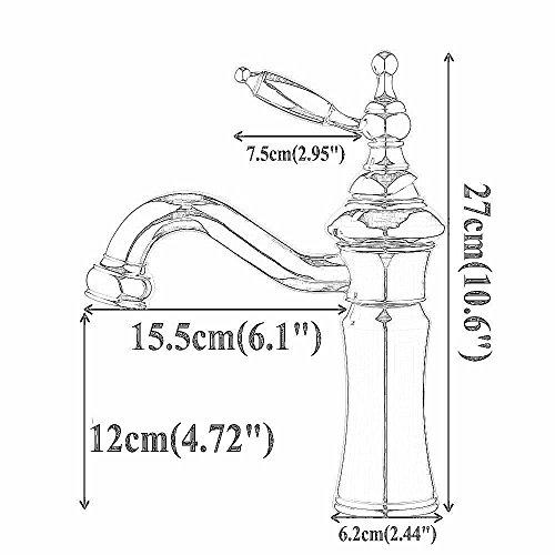 Beelee Schwarz Messing Mischbatterie Wasserhahn Bad Armatur Waschtischarmatur Waschbeckenarmatur Einhebelmischer Badarmatur