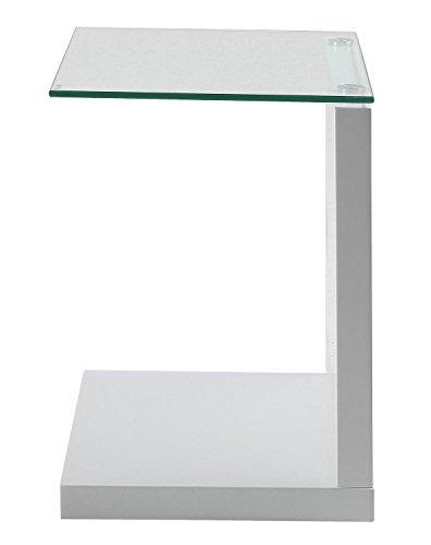 Beistelltisch Glastisch Wohnzimmertisch TILLY | Weiß Hochglanz | Dekor | Glas | BxHxT 40x50x35 cm
