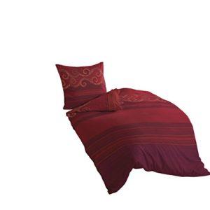 Bierbaum 4429_04 Mako-Satin-Bettwäsche Dessin, 135 x 200 cm, 80 x 80 cm, Rot