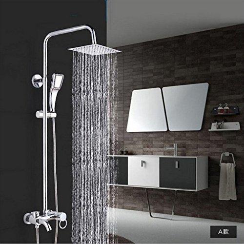 Regendusche Handbrause Shower Set mit komplettem Zubehör, Chrome Regendusche Kopfbrause Set mit Handbrause und Duschpaneel, Wandhalterung Wasserfall Duschkopf Duschset