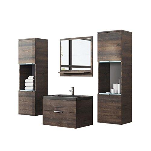 Badmöbel Set Kala inkl. Waschbecken, Siphon und RGB LED-Beleuchtung, Modernes Badezimmer, Komplett mit Spiegel, Waschtisch, Hängeschrank, Möbel (mit Waschbecken schwarz, esche dunkel)