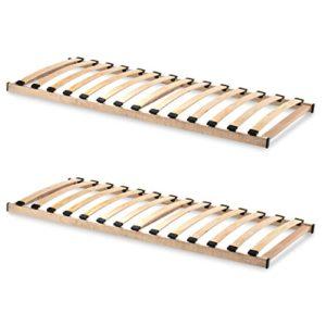 HomeBett 2er-Set Lattenrost 90x200 cm NV, Geeignet für alle Matratzen, Komfort Lattenrost mit 14 hochelastische Federholzleisten
