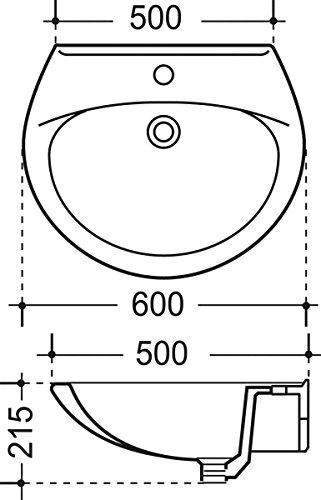 Waschtisch Aveiro | 60 cm | Weiß | Waschbecken | Waschplatz | Handwaschbecken | Bad | Badezimmer | Keramik | Gäste-WC