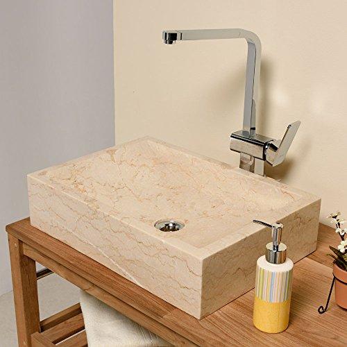 WOHNFREUDEN Marmor Waschbecken Perahu ✓ 50 cm recht-eckig poliert creme ✓ ideal als Handwaschbecken oder Naturstein Aufsatzwaschbecken für Bad Gäste WC ✓ inkl. techn. Zeichnung ✓ schnell & versandkostenfrei ✓
