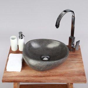 Wohnfreuden Naturstein Waschbecken Waschbecken aus Stein rund 30 cm für Waschtisch Unterschrank im Gäste WC Bad | Versandkostenfrei ✓