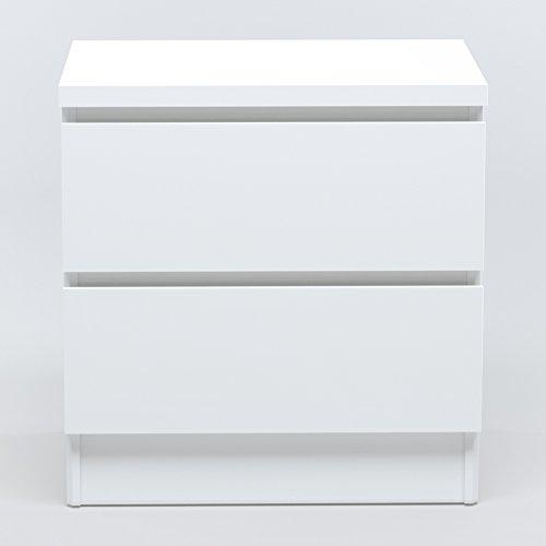 INFINIKIT Haven Nachttisch mit 2 Schubladen - Weiß