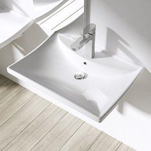BTH: 60x44x16cm Design-Aufsatzwaschbecken/Hängewaschbecken inkl. Nano-Beschichtung aus Keramik | Brüssel709 | Waschtisch/Waschbecken
