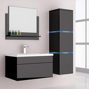 Home Deluxe Badmöbel-Set | Wangerooge Schwarz | L | inkl. Waschbecken und komplettem Zubehör | Verschiedene Größen