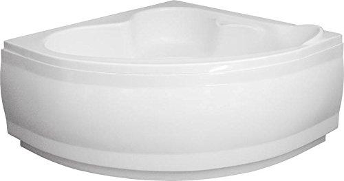 Eck Badewanne-Acryl 130x130x580 inkl. Wannenfuß und Ablaufgarnitur, Schürze:mit Schürze