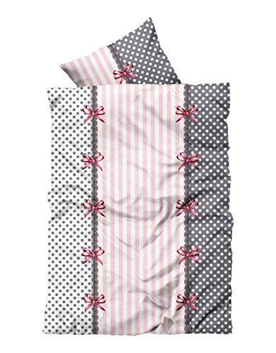4 tlg Bettwäsche 135 x 200 cm rosa weiß 2 Garnituren Reißverschluss
