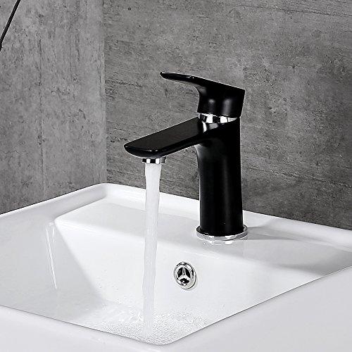 Desfau schwarz Wasserhahn Waschbecken Armatur Waschtischarmatur Mischbatterie Bad Waschtischmischer Badarmatur