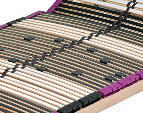 DaMi Wohn- und Schlafsysteme Neu mit 56 Federholzleisten Sehr Stabil !!!! 7 Zonen Lattenrost aus Buche Premium KV inkl. 6 fache Härteverstellung, mit Kopfverstellung zerlegt (90 x 200 cm)