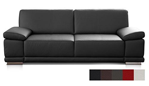 Cavadore 3053 2,5-Sitzer Sofa Corianne in Kunstleder / Kleines Leder-Sofa in hochwertigem Kunstleder und modernem Design / Mit verstellbaren Armlehnen / Größe: 191 x 80 x 99 (BxHxT) / Bezug in Kunstleder schwarz
