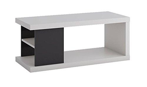 Couchtisch Sombor 11, Farbe: Schwarz Hochglanz / Weiß - Abmessungen: 100 x 41 x 55 cm (B x H x T)