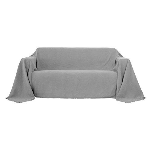 Deconovo Sofa Überwurf Bettüberwurf Couchbezug Wildleder Optik 210x280 cm Hellgrau