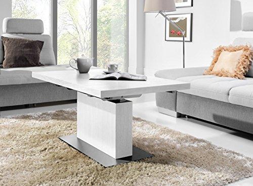 Design Couchtisch Tisch MN-7 Weiß Seidenmatt höhenverstellbar & ausziehbar