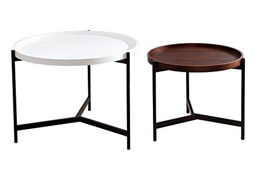 DuNord Design Couchtisch Beistelltisch TURIN 2er schwarz weiss walnuss Design Tablett Tischset