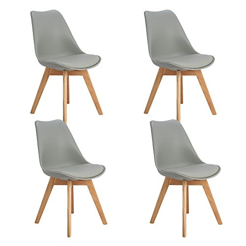 EGGREE 4er Set Esszimmerstühle Skandinavisch Küchenstuhl Stühle Modern mit Massivholz Eiche Bein und Kunstlederkissen, Grau