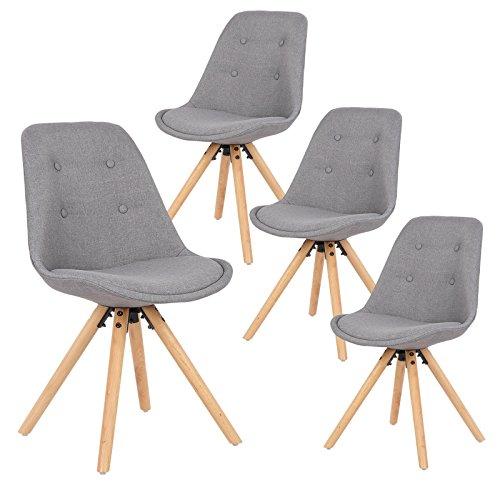 EUGAD 4er Set Esszimmerstühle Polsterstühle Designerstuhl, Sitzfläche aus Leinen, mit Rücklehne, Holzgestell, BH54gr-4, Grau