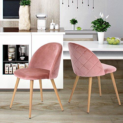 Esszimmerstuhl Coavas samt weich Kissen Sitz und Rücken mit hölzernen Metallbeine Küche Stühle für Ess - und wohnzimmer Stühle Set von 2, Rosa