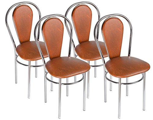Esszimmerstuhl Stilvoll Gemütlich Küchenstuhl - Tulipan Plus Trapez - Farbe: Braun - 4er Set