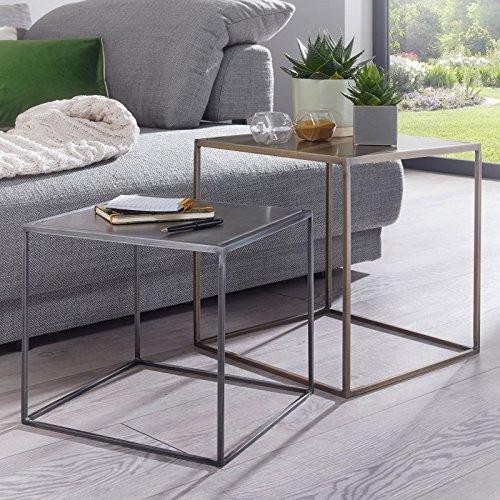 FineBuy 2er Set Design Beistelltisch Matti Satztisch 2-Teilig Sofatisch Metall | Design Industrie Couchtisch Eckig Messing Zink | Loft Wohnzimmertisch Modern | Kleine Tische mit Metallgestell