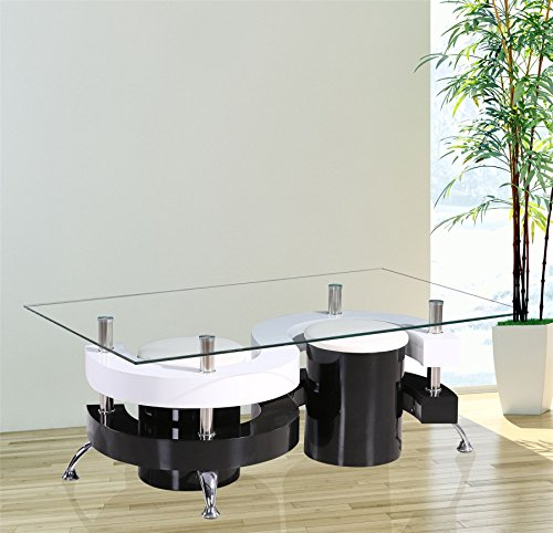 GR8Home Holz Modern S Form Curve Design, rechteckig, Glas Kaffee Esstisch mit 2Hockern Stühlen aus Kunstleder, Set