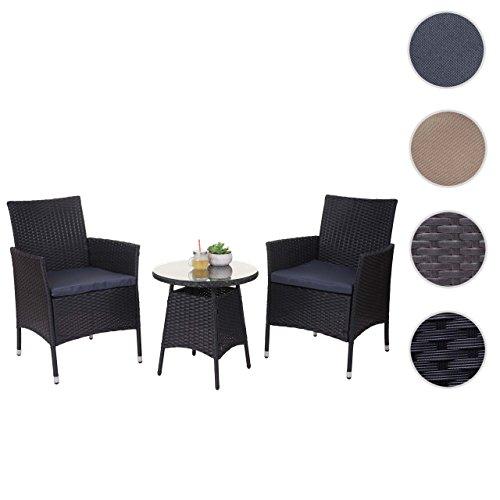 Mendler Poly-Rattan-Garnitur HWC-A82, Balkon-Set Gartenmöbel Sitzgarnitur ~ Anthrazit, Kissen Grau