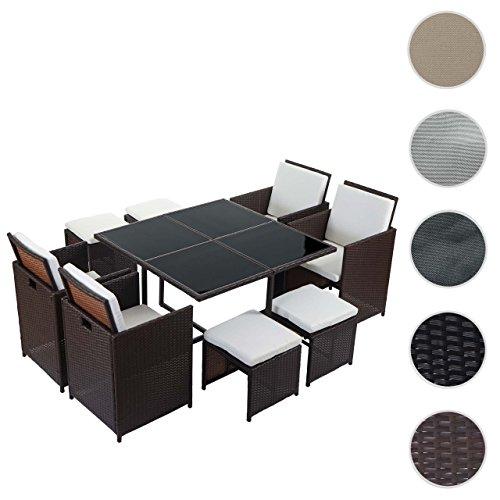 Mendler Poly-Rattan Garten-Garnitur Kreta, Lounge-Set Sitzgruppe ~ 4 Stühle Braun, Kissen Creme