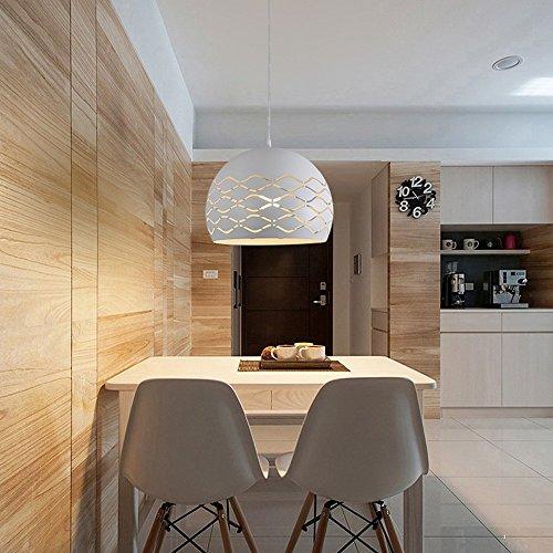 Modern Design Pendelleuchte Esstisch Hängeleuchte E27 Kugel Deckenleuchte Kreative Einfache Hängelampe aus Metall Lampenschirme Weiß Pendellampe für Wohnzimmer Esszimmer Küche, Höhenverstellbar