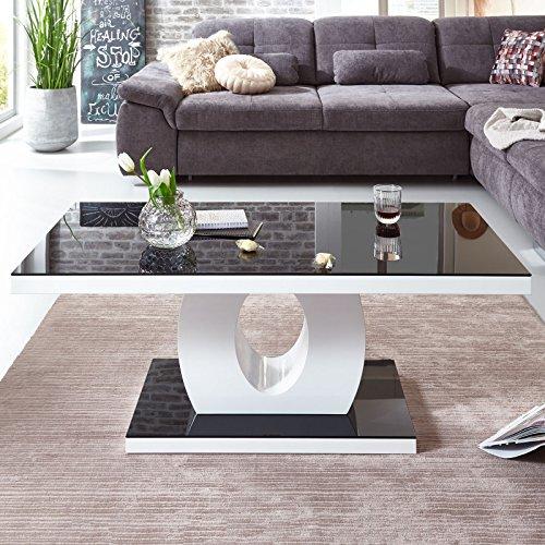 Moebella® Designer Couchtisch Weiß Hochglanz mit Glasplatte 4 Rollen Schwarz Amelie 120x60x47cm Schwarzglas Glastisch