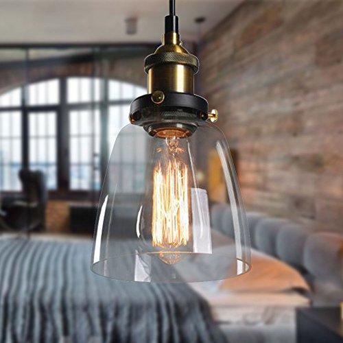 OUKANING Vintage Loft-Pendelleuchte Klar Glas Hängeleuchte Retro Pendelleuchte Loft Edison Hängelampe Deck