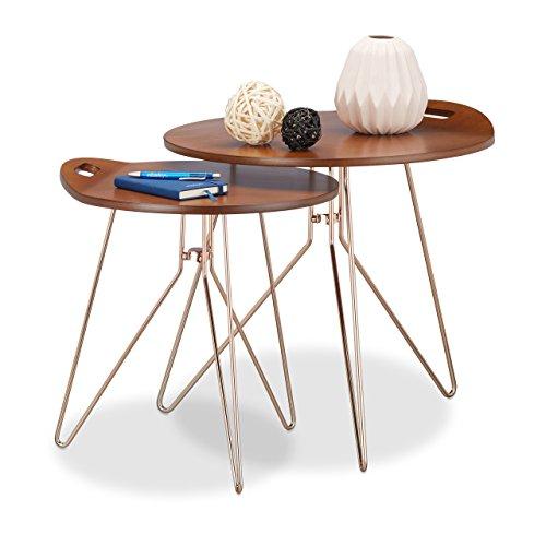 Relaxdays Beistelltisch 2er Set Holz, Metallgestell, Retro-Design (Walnuss), Couchtisch Holz, moderner Look, braun
