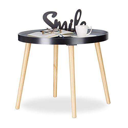 Relaxdays Beistelltisch Rund, skandinavisches Design, Couchtisch Oder Nachttisch, HxØ: 51 x 65 cm, Holz, Schwarz-Grau