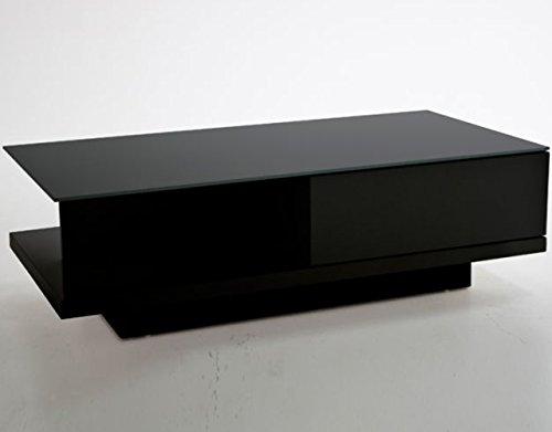 SalesFever Couch-Tisch schwarz Hochglanz mit Schublade 120x60cm recht-eckig | Carla | Moderner Wohnzimmer-Tisch mit Tischplatte aus Kristallglas 120cm x 60cm