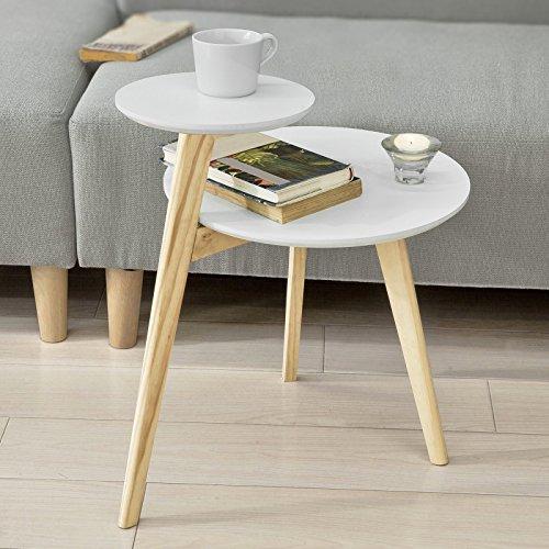 SoBuy FBT53-WN Design Beistelltisch mit 2 Tischplatten Couchtisch Kaffeetisch Balkontisch weiß-natur, BHT ca: 40x54x47cm