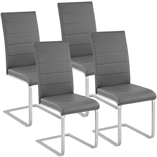 TecTake Esszimmerstühle Schwingstuhl Set | Kunstleder - diverse Farben - (4er Set grau | Nr. 402555)