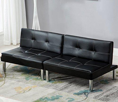 UEnjoy Schlafsofa Schwarz Sofabett Leder Schlafcouch Luxuriös Schlafcouch 180 x 90 4 Sitzer