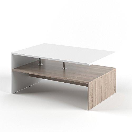 VICCO Couchtisch AMATO 90 x 60 cm - Wohnzimmertisch Beistelltisch Holztisch Kaffeetisch - 3 Farben zur Auswahl (Weiß Sonoma Eiche)