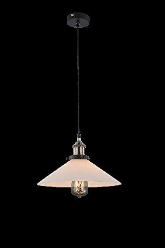 Vintage Hängelampe 1 Flammig Retro Hängeleuchte Pendelleuchte Küchelampe Glas Glübirne (Pendellampe, Deckenlampe, Deckenleuchte, Esstischlampe, 30 cm, H 123 cm, Schwarz)