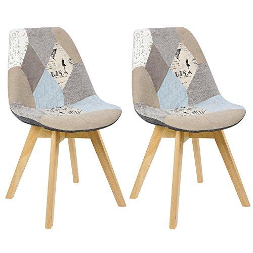 WOLTU BH29pw-2 2 x Esszimmerstühle 2er Set Esszimmerstuhl Design Stuhl Küchenstuhl Holz, Neu Design, Leinen, Patchwork