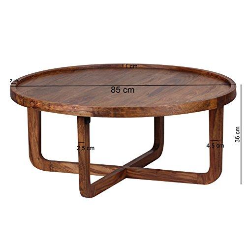 Wohnling Couchtisch Massiv-Holz Sheesham rund 85 cm Wohnzimmer-Tisch Design dunkel-braun Landhaus-Stil Beistelltisch Natur-Produkt Wohnzimmermöbel Unikat modern Massivholzmöbel Echtholz Kreuzfuß