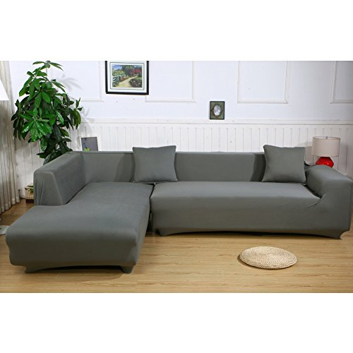 ele ELEOPTION Sofa Überwürfe Elastische Stretch Sofa Bezug 2er Set für L Form Sofa inkl. 2 Stücke Kissenbezug (Grau)