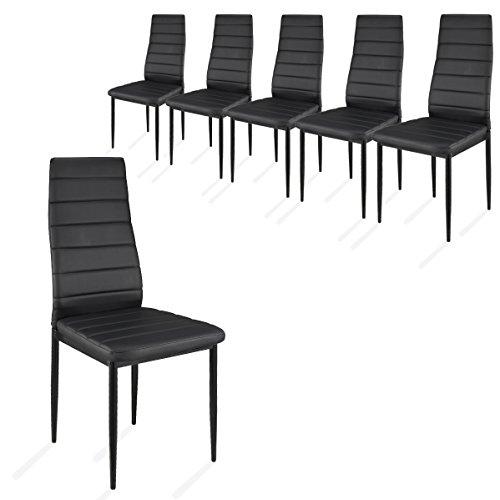 i-flair 6 Stück Esszimmerstühle, Küchenstühle mit hochwertigem Kunstlederpolster - (Schwarz)