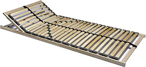 i-flair® - 7 Zonen Lattenrost 90x200 cm, 28 Leisten, Härte- und Kopfteil verstellbar mit Mittelgurt, 180 kg - (90x200 cm)